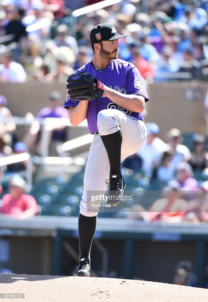 Chad Bettis #35 of the Colorado Rockies delivers a first inning pitch during a spring training game against the Arizona Diamondbacks at Salt River Fields at Talking Stick on March 12, 2018 in Scottsdale, Arizona.
