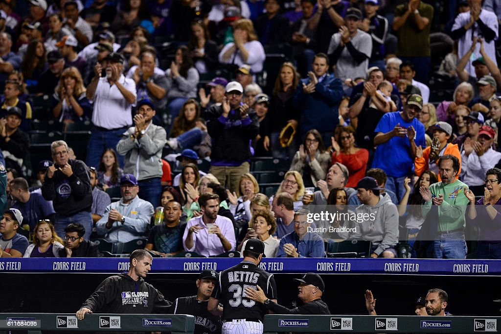 Chad Bettis #35 of the Colorado Rockies is cheered after being relieved in the seventh inning of a game against the Milwaukee Brewers at Coors Field on September 30, 2016 in Denver, Colorado.