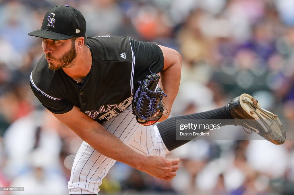 Chad Bettis #35 of the Colorado Rockies pitches against the Detroit Tigers in the fifth inning of a game at Coors Field on August 30, 2017 in Denver, Colorado.