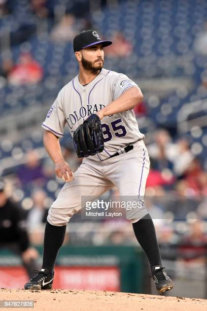 Chad Bettis of the Colorado Rockies pitches during a baseball game against the Washington Nationals at Nationals Park on April 12 2018 in Washington...