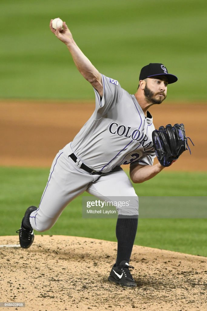 Chad Bettis #35 of the Colorado Rockies pitches in the fifth inning during a baseball game against the Washington Nationals at Nationals Park on April 12, 2018 in Washington, DC.
