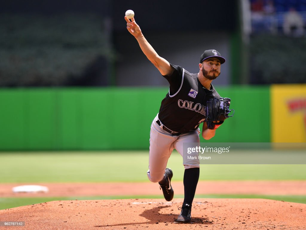 Chad Bettis #35 of the Colorado Rockies pitches in the first inning against the Miami Marlins at Marlins Park on April 29, 2018 in Miami, Florida.