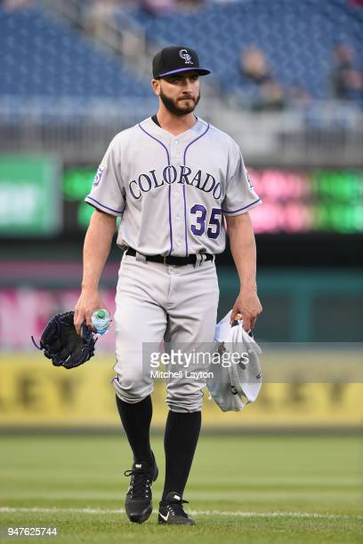 Chad Bettis of the Colorado Rockies walks to the dug out before a baseball game against the Washington Nationals at Nationals Park on April 12 2018...