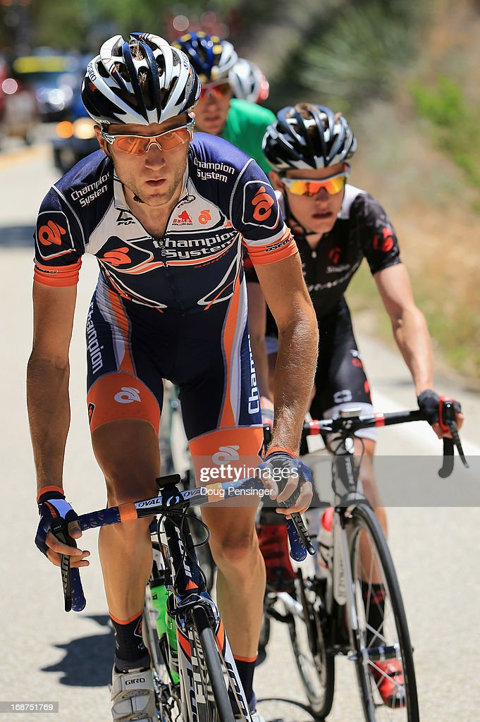 Chad Beyer of the USA riding for Champion System drives the breakaway as he was awarded the most courageous rider's jersey in Stage Three of the 2013 Amgen Tour of California from Palmdale to Santa Clarita on May 14, 2013 in Santa Clarita, California.