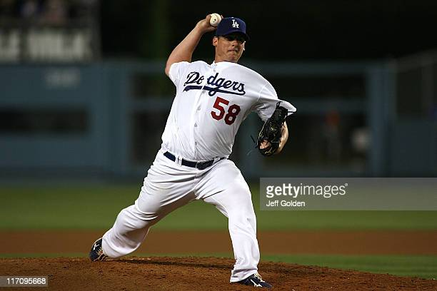 Chad Billingsley of the Los Angeles Dodgers pitches against the Detroit Tigers at Dodger Stadium on June 21 2011 in Los Angeles California