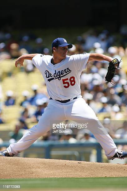 Chad Billingsley of the Los Angeles Dodgers pitches against the Washington Nationals in the first inning of the game at Dodger Stadium on July 24...