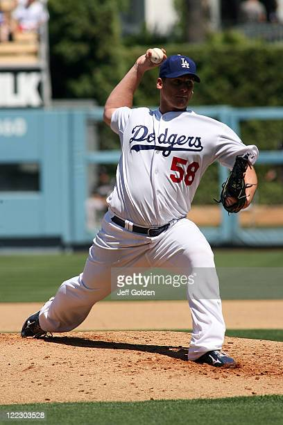 Chad Billingsley of the Los Angeles Dodgers pitches against the Colorado Rockies in the third inning of the game at Dodger Stadium on August 27 2011...