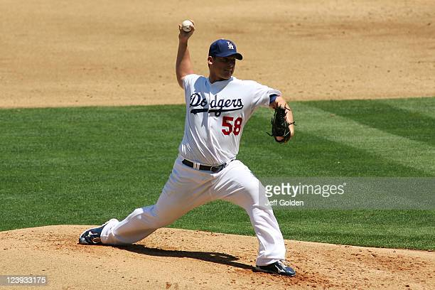 Chad Billingsley of the Los Angeles Dodgers pitches against the Colorado Rockies in the second inning of the game at Dodger Stadium on August 27 2011...