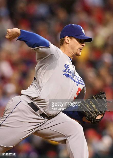 Chad Billingsley of the Los Angeles Dodgers pitches against the Philadelphia Phillies in Game Three of the NLCS during the 2009 MLB Playoffs at...