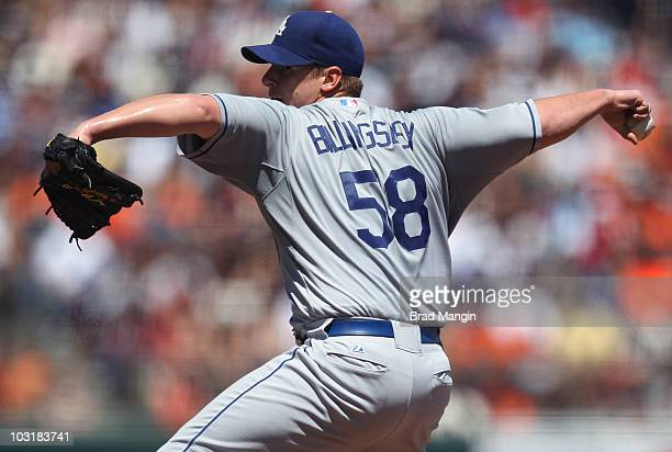 Chad Billingsley of the Los Angeles Dodgers pitches against the San Francisco Giants during the game at ATT Park on July 31 2010 in San Francisco...