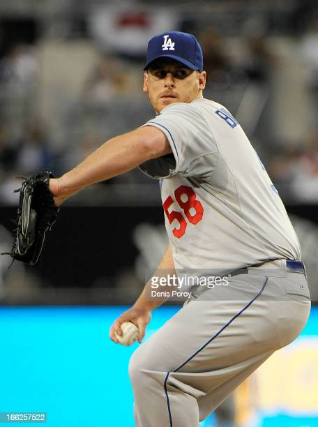 Chad Billingsley of the Los Angeles Dodgers pitches in the first inning of a baseball game against the San Diego Padres at Petco Park on April 10...