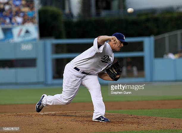 Chad Billingsley of the Los Angeles Dodgers throws a pitch against the San Francisco Giants on July 21 2010 at Dodger Stadium in Los Angeles...