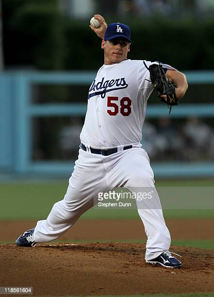 Chad Billingsley of the Los Angeles Dodgers throws a pitch against the San Diego Padres on July 8 2011 at Dodger Stadium in Los Angeles California