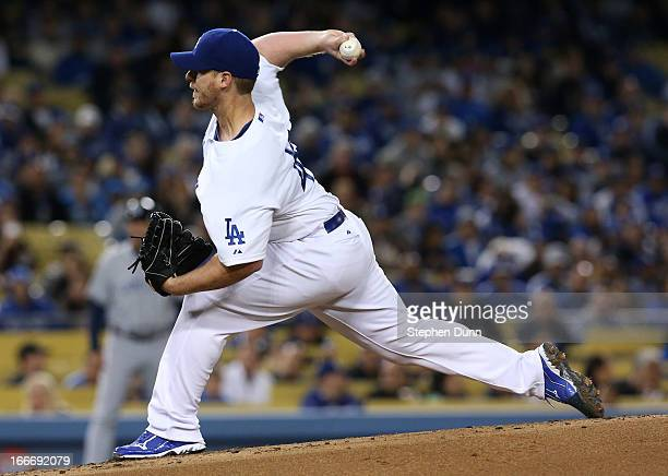 Chad Billingsley of the Los Angeles Dodgers throws a pitch against the San Diego Padres at Dodger Stadium on April 15 2013 in Los Angeles California...