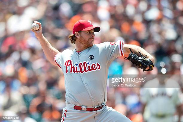 Chad Billingsley of the Philadelphia Phillies pitches against the San Francisco Giants during the first inning at ATT Park on July 12 2015 in San...