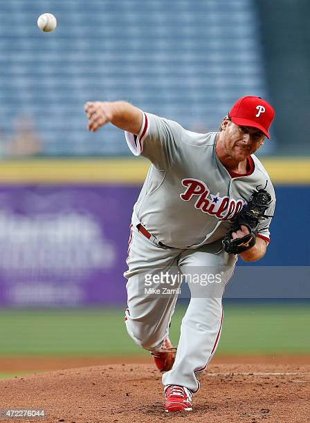 Chad Billingsley of the Philadelphia Phillies pitches in the first inning of the game against the Atlanta Braves at Turner Field on May 5 2015 in...