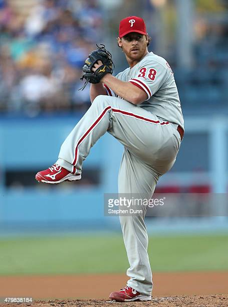 Chad Billingsley of the Philadelphia Phillies throws a pitch against the Los Angeles Dodgers at Dodger Stadium on July 7 2015 in Los Angeles...