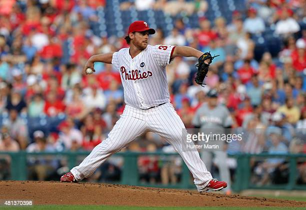 Chad Billingsley of the Philadelphia Phillies throws a pitch during a game against the Miami Marlins at Citizens Bank Park on July 18 2015 in...