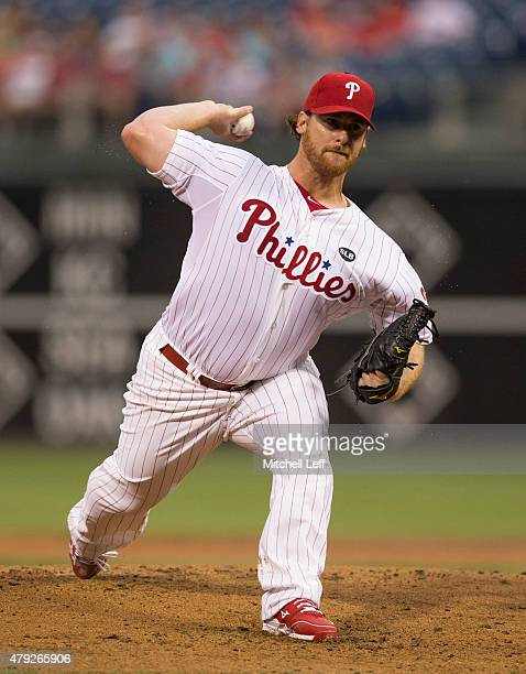 Chad Billingsley of the Philadelphia Phillies throws a pitch in the top of the second inning against the Milwaukee Brewers on July 2 2015 at the...