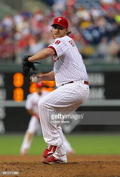 Chad Billingsley of the Philadelphia Phillies throws a pitch in the fourth inning during a game against the Miami Marlins at Citizens Bank Park on...