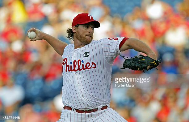 Chad Billingsley of the Philadelphia Phillies throws a pitch in the first inning during a game against the Miami Marlins at Citizens Bank Park on...