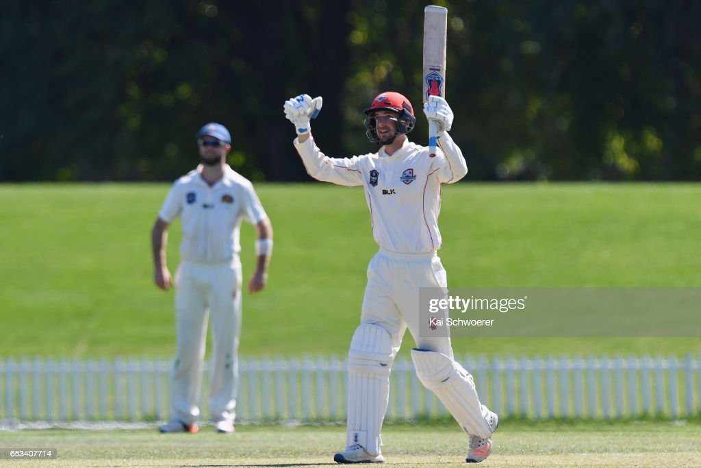 Chad Bowes of Canterbury celebrates his century during the Plunket Shield match between Canterbury and Otago on March 15, 2017 in Christchurch, New Zealand.