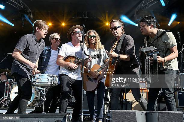 Chad Butler Tim Foreman Jon Foreman Surfer Rob Machado Drew Shirley and Jerome Fontamillas perform with Switchfoot during day 3 of KAABOO Del Mar at...