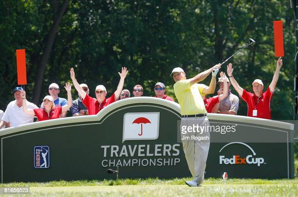 Chad Campbell hits a tee shot during the third round of the Travelers Championship at TPC River Highlands held on June 21 2008 in Cromwell Connecticut