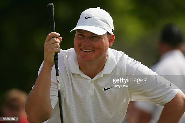 Chad Campbell laughs on the first hole during the third round of the Sony Open at the Waialae Country Club on January 14 2006 in Honolulu Hawaii