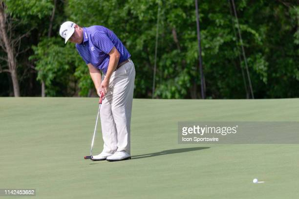 Chad Campbell makes his par putt on the ninth green during the first round of the ATT Byron Nelson on May 9 2019 at Trinity Forest Golf Club in...