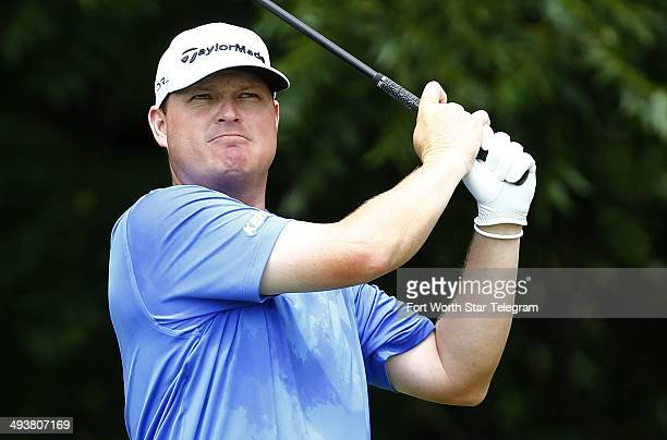 Chad Campbell watches his tee shot at No. 6 during the final round of the Crowne Plaza Invitational at Colonial in Fort Worth, Texas, Sunday, May 25,...