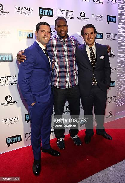 Chad Carroll Toney Douglas and Larry Zinn attends Million Dollar Listing Miami Season One VIP Premiere Party at Nikki Beach on June 18 2014 in Miami...