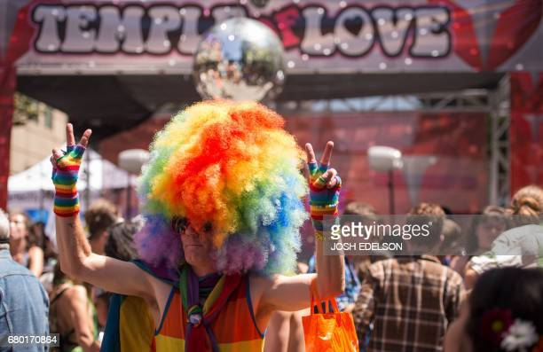 Chad Christiansen dances during the 18th annual How Weird Street Faire in San Francisco California on May 07 2017 Several city blocks filled with...