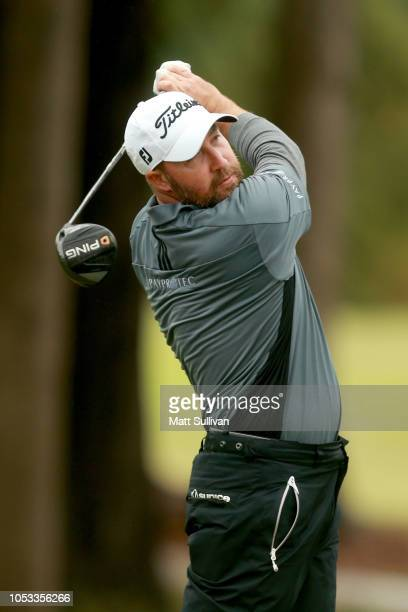 Chad Collins plays his shot from the 18th tee during Sanderson Farms Championship Round One on October 25 2018 in Jackson Mississippi