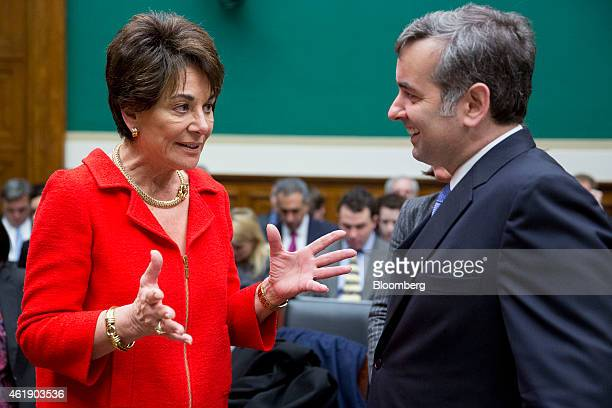 Chad Dickerson chief executive officer of Etsy Inc right talks Representative Anna Eshoo a Democrat from California before a House Energy and...