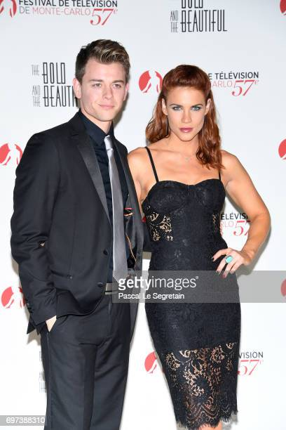 Chad Duell and Courtney Hope attend the 'The Bold and The Beautiful' 30th Years anniversary during the 57th Monte Carlo TV Festival Day 3 on June 18...