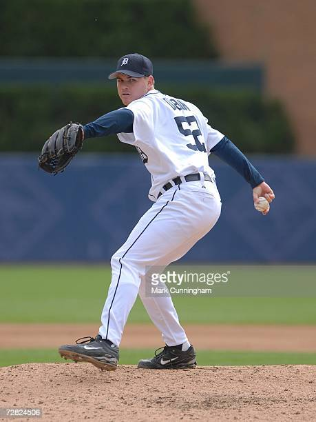Chad Durbin of the Detroit Tigers pitching during the game against the Toronto Blue Jays at Comerica Park in Detroit Michigan on September 28 2006...