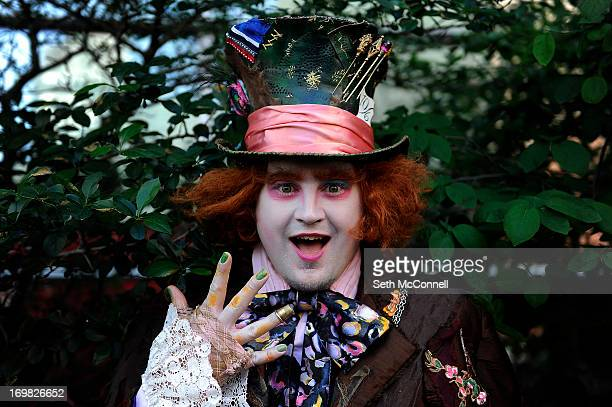 Chad Edward Evett from La Junta Colorado dressed as the Mad Hatter from Alice in Wonderland poses for a portrait during Denver Comic Con at the...