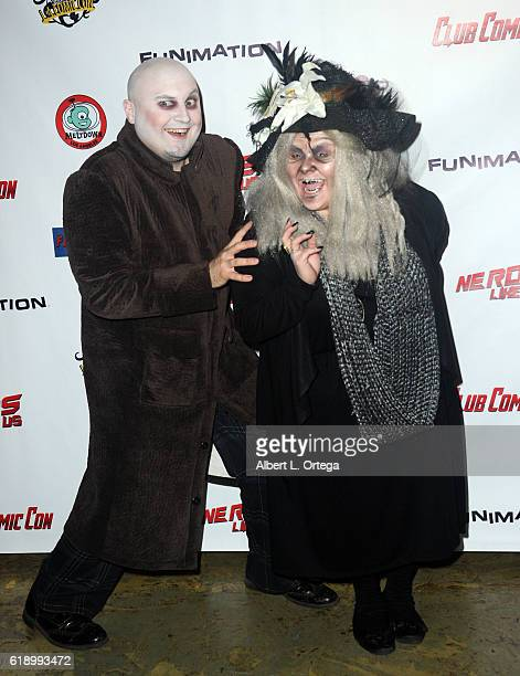 Chad Edward Lee Evett as Uncle Fester and Rhapsody Artajo as Grandma Addams attend Club Comic Con Launch Party held at Globe Theatre on October 28...