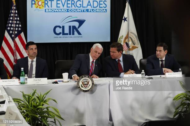 Chad F Wolf the acting Secretary of Homeland Security Vice President Mike Pence Florida Governor Ron DeSantis and Sen Marco Rubio sit together during...