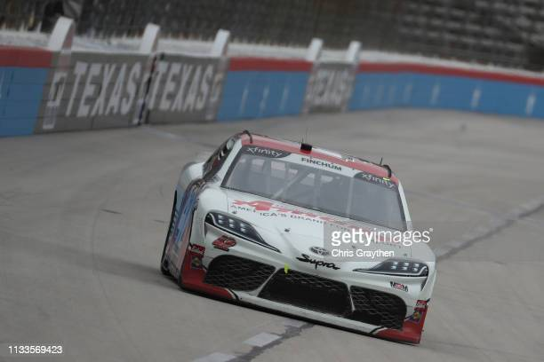 Chad Finchum driver of the Amana Toyota drives during practice for the NASCAR Xfinity Series My Bariatric Solutions 300 at Texas Motor Speedway on...