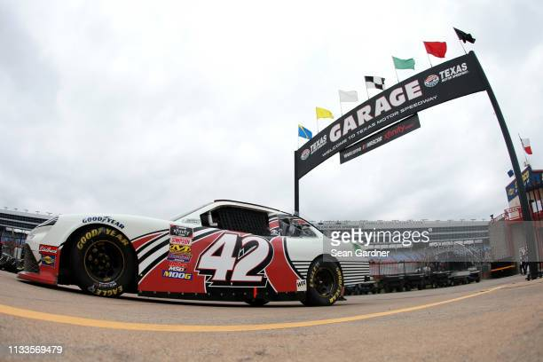 Chad Finchum driver of the Amana Toyota drives through the garage during practice for the NASCAR Xfinity Series My Bariatric Solutions 300 at Texas...