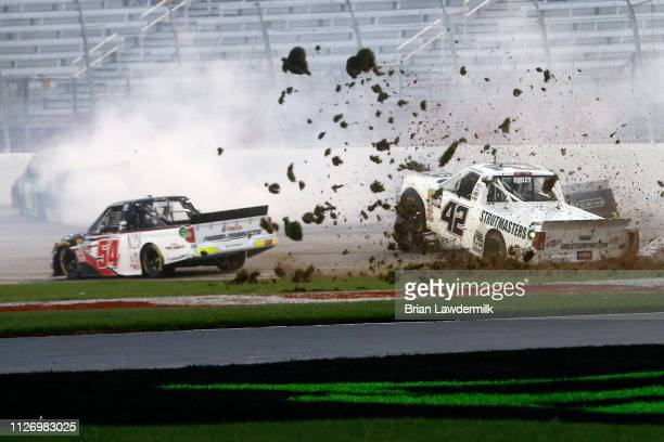 Chad Finley driver of the AutoValueCrtfdSrvcCntrs/AirLftCmpny Chevrolet crashes during the NASCAR Gander Outdoors Truck Series Ultimate Tailgating...