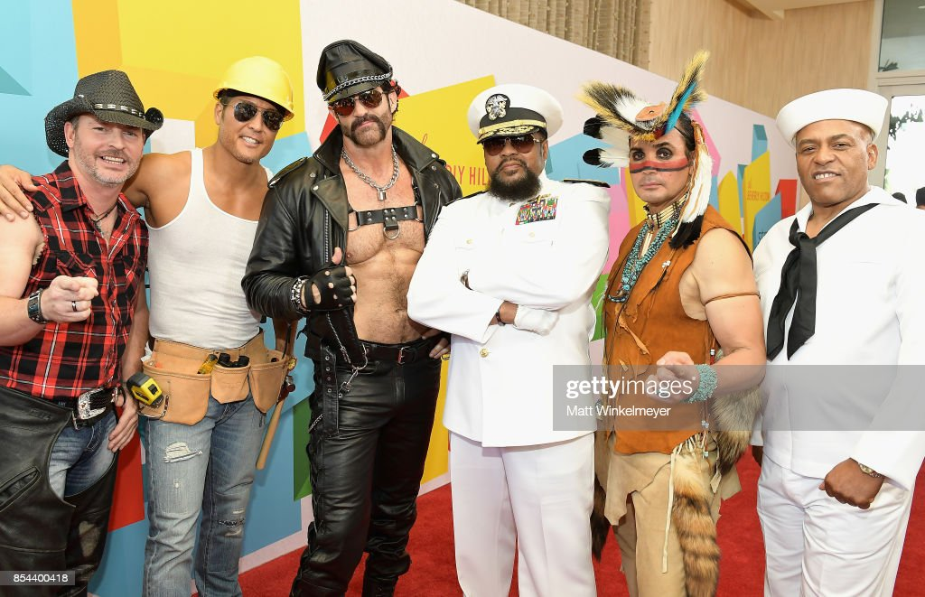 Chad Freeman, James Kwong, J.J. Lippold, Victor Willis, Angel Morales and Sonny Earl of Village People at the 2017 Streamy Awards at The Beverly Hilton Hotel on September 26, 2017 in Beverly Hills, California.