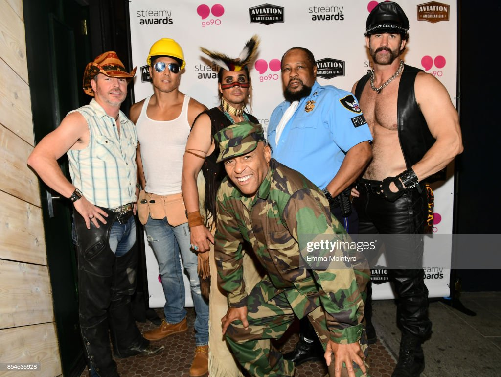 Chad Freeman, James Kwong, J.J. Lippold, Victor Willis, Angel Morales and Sonny Earl of Village People at go90 + Streamys After Party at Poppy on September 26, 2017 in Los Angeles, California.