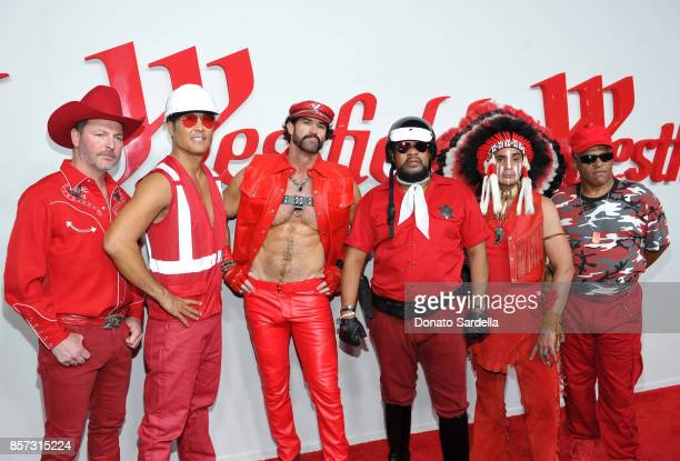 Chad Freeman James Kwong JJ Lippold Victor Willis Angel Morales and Sonny Earl of music group Village People attend the Westfield Century City...