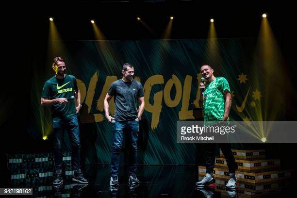 Chad Gibson interviews Brett Emerton and Josh Kennedy during the Nike Football Australian National Team Kit Launch on April 5 2018 in Sydney Australia