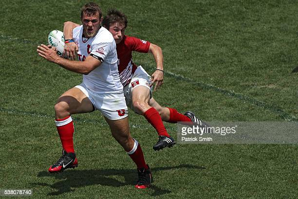 Chad Gough of the University of Utah scores a try past Ed Gallagher of Temple during Day 1 of the Penn Mutual Collegiate Rugby Championships at Talen...