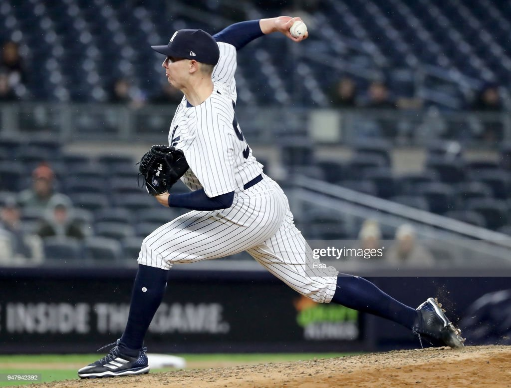 Chad Green #57 of the New York Yankees delivers a pitch in the eighth inning against the Miami Marlins at Yankee Stadium on April 17, 2018 in the Bronx borough of New York City.