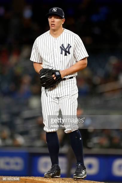 Chad Green of the New York Yankees pitches against the Toronto Blue Jays during the fifth inning at Yankee Stadium on April 19 2018 in the Bronx...